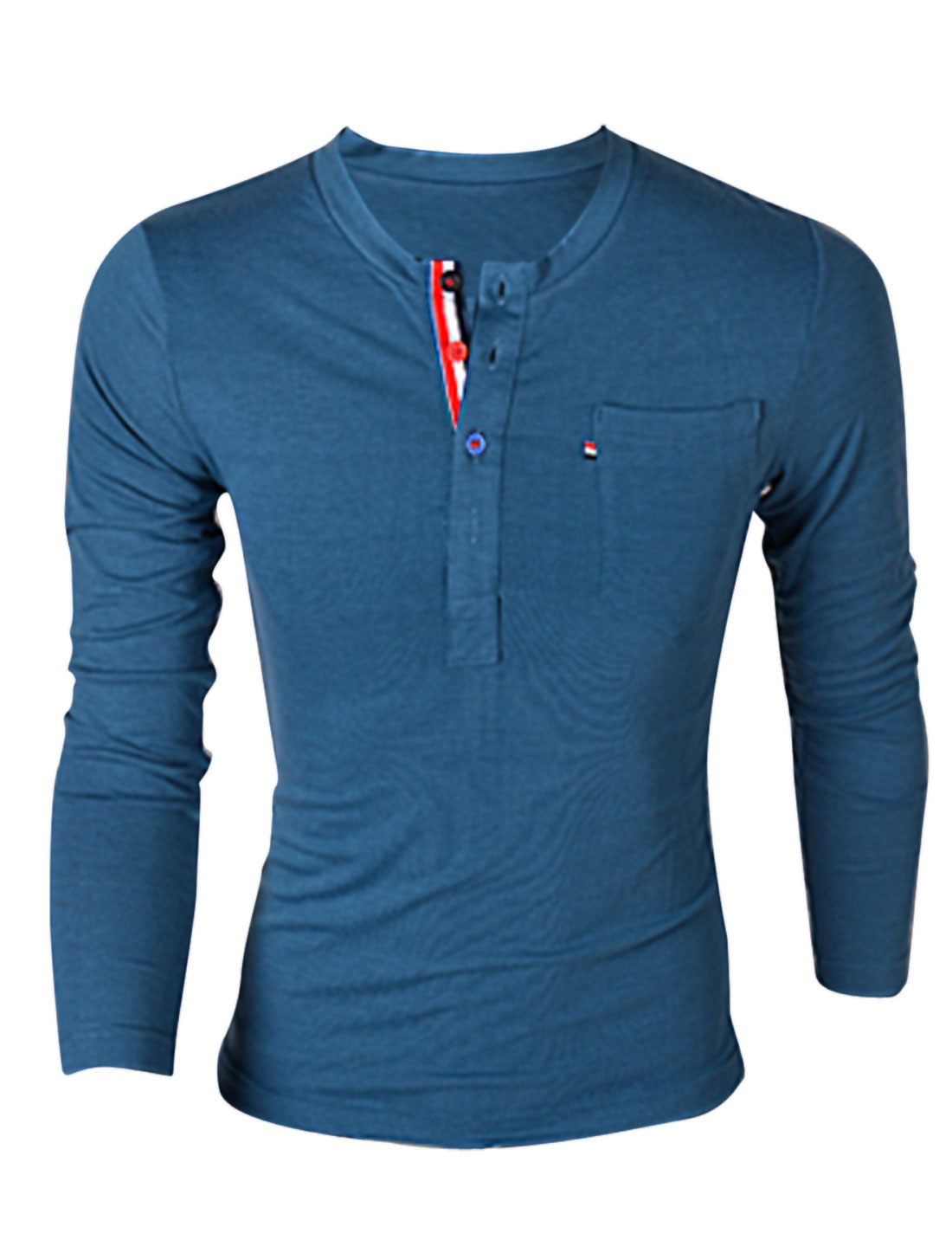 Men Four Buttons w Ribbon Decor Front One Chest Pocket Henley Shirt Blue M