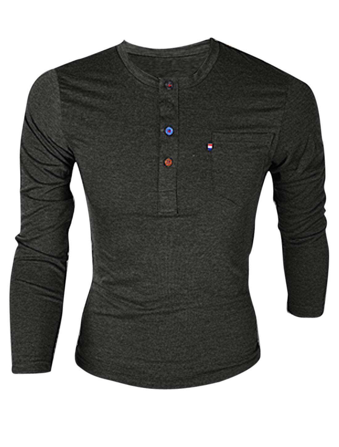 Men Single Chest Pocket Pullover Casual Slim Henley Shirt Dark Gray M
