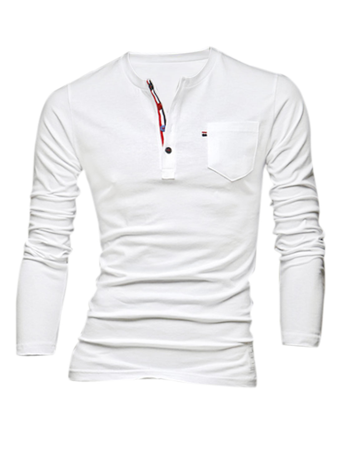 Men Leisure Style Round Neck Pullover Slim Henley Shirt White M