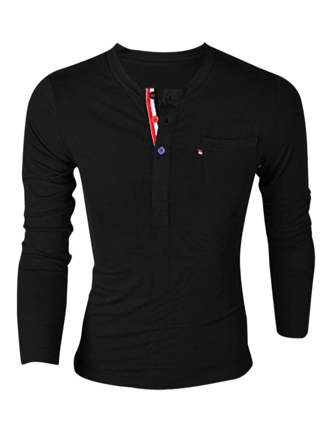 Men Fashion Style Round Neck One Chest Pocket Casual Henley Shirt Black M