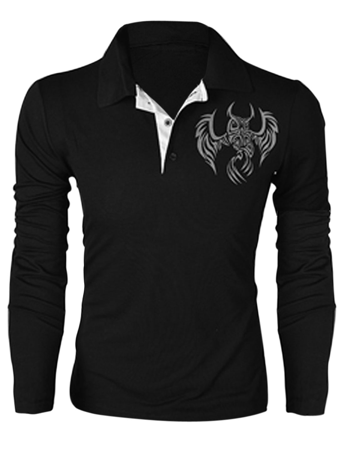 Men Point Collar Long Sleeve Owl Prints Casual Polo Shirt Black M