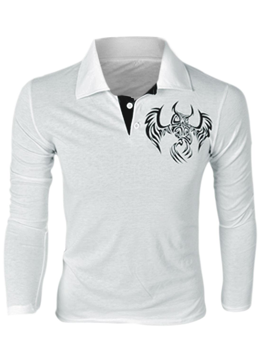 Men Point Collar Long Sleeve Owl Prints Pullover Polo Shirt White M