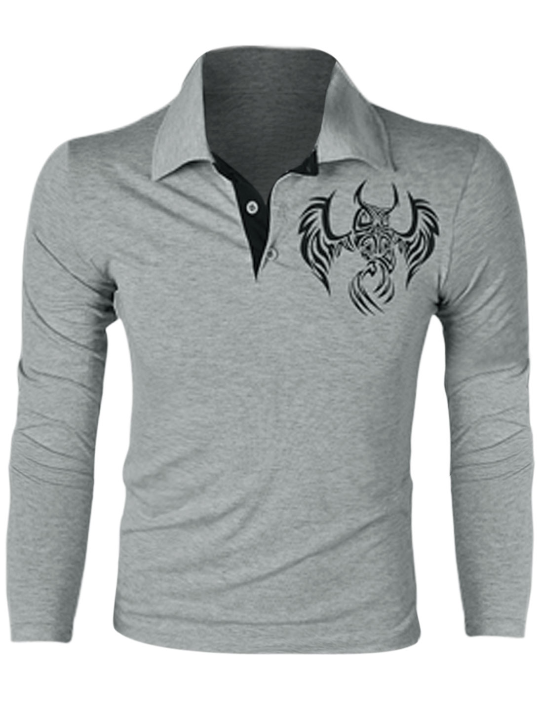 Men Point Collar Long Sleeve Owl Prints Stylish Polo Shirt Light Gray M