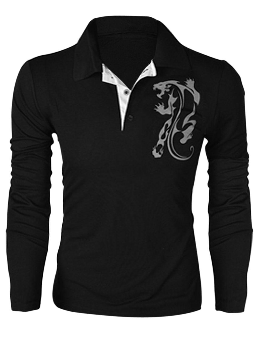Men Point Collar Long Sleeve Cheetah Prints Polo Shirt Black M