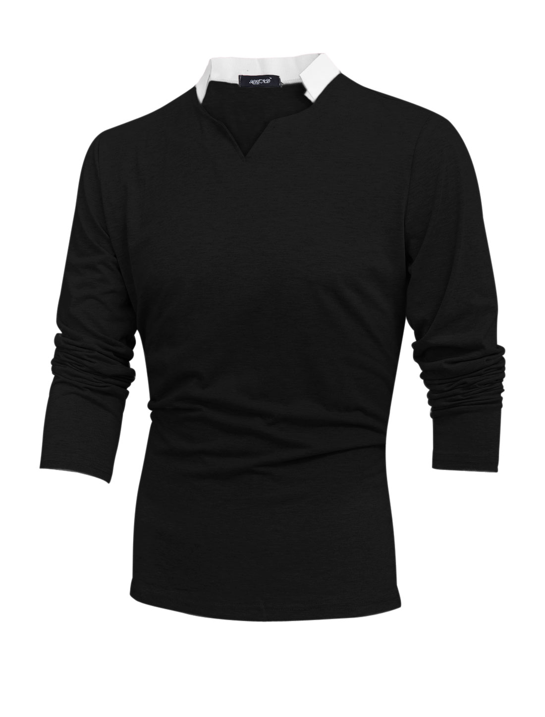Men Contrast Color Split Neck Long Sleeve Pullover Casual T-shirt Black M