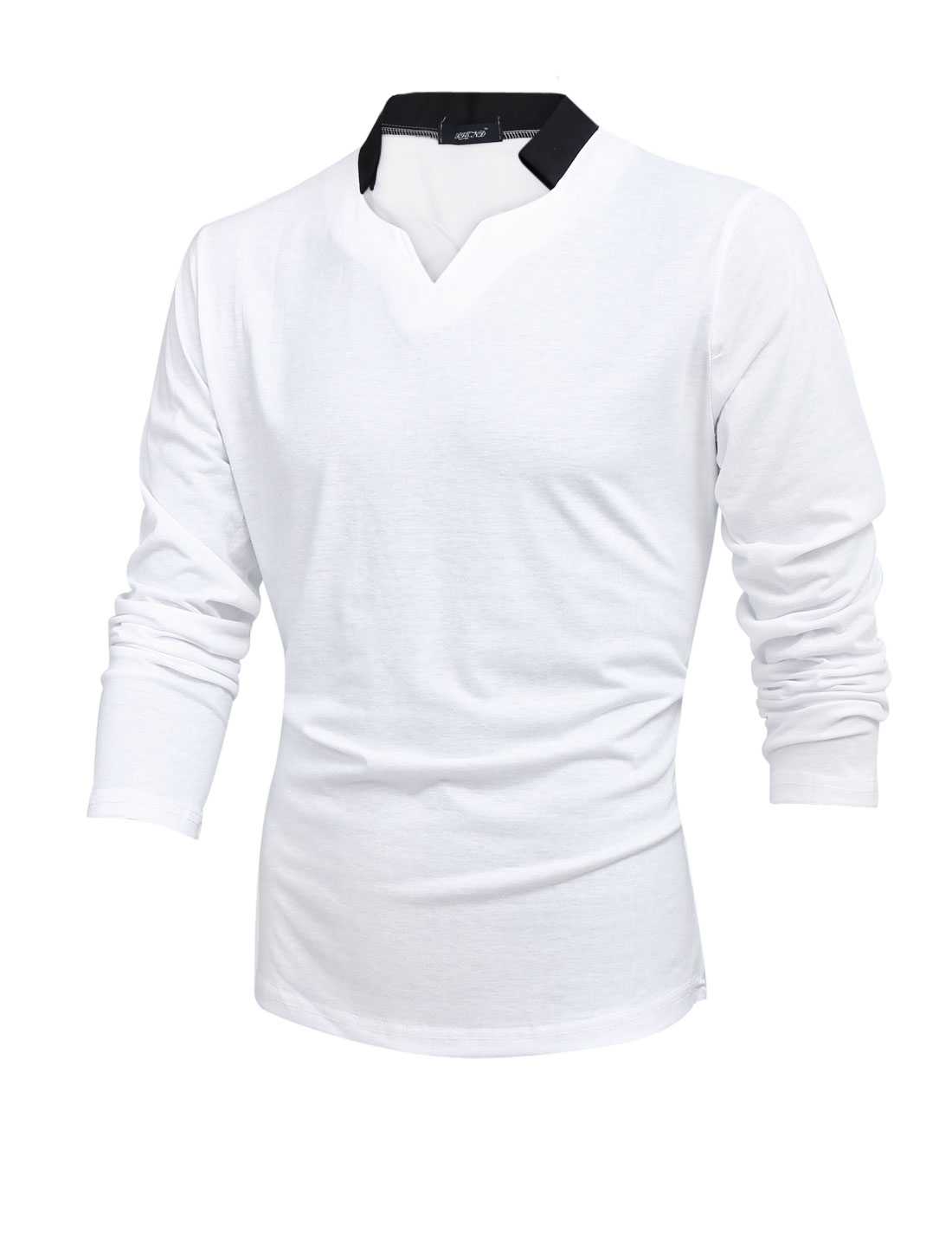 Men Long Sleeve Color Block Split Neck Leisure T-shirt White M