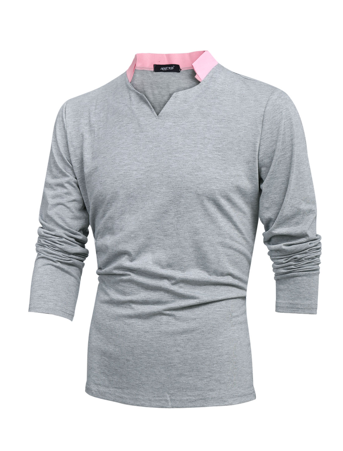 Men Color Block Notch Neck Long Sleeve Casual T-shirt Light Gray M