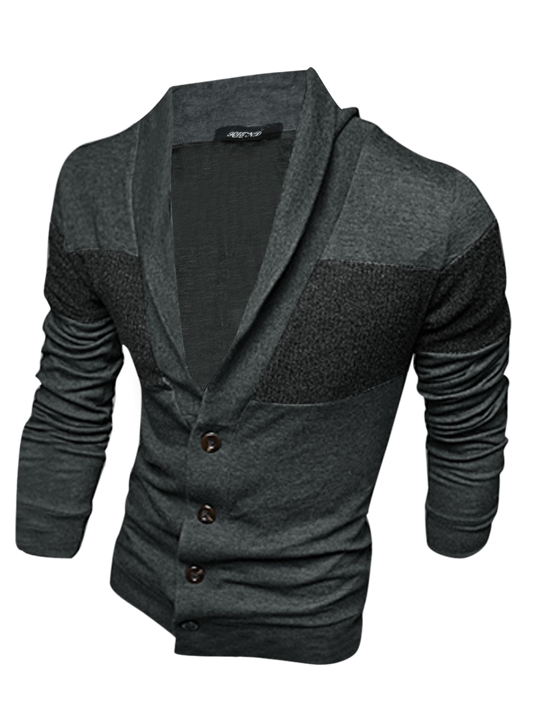 Men Shawl Collar Single Four Buttons Knitted Panel Cardigan Dark Gray M