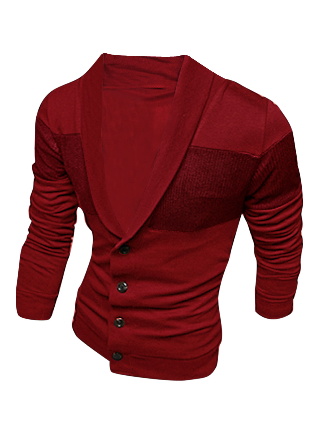 Men Shawl Collar Four Buttons Closure Knitted Panel Cardigan Burgundy M