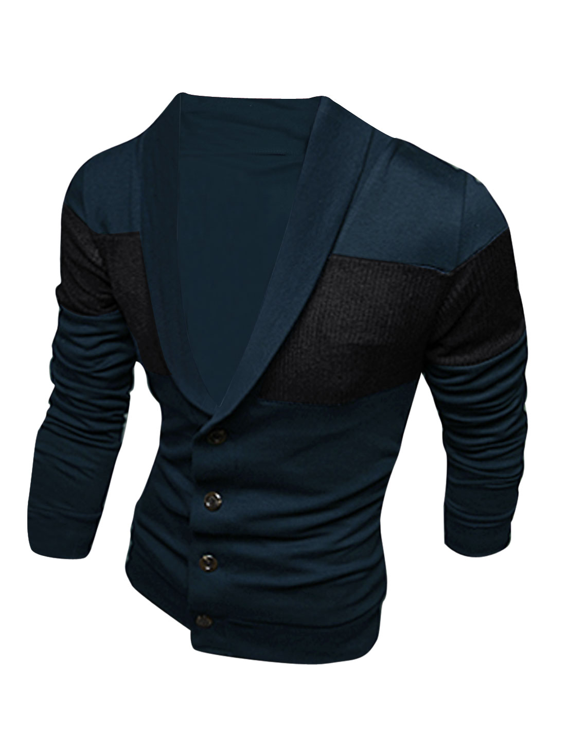 Men Casual Single Four Buttons Knitted Panel Cardigan Navy Blue M