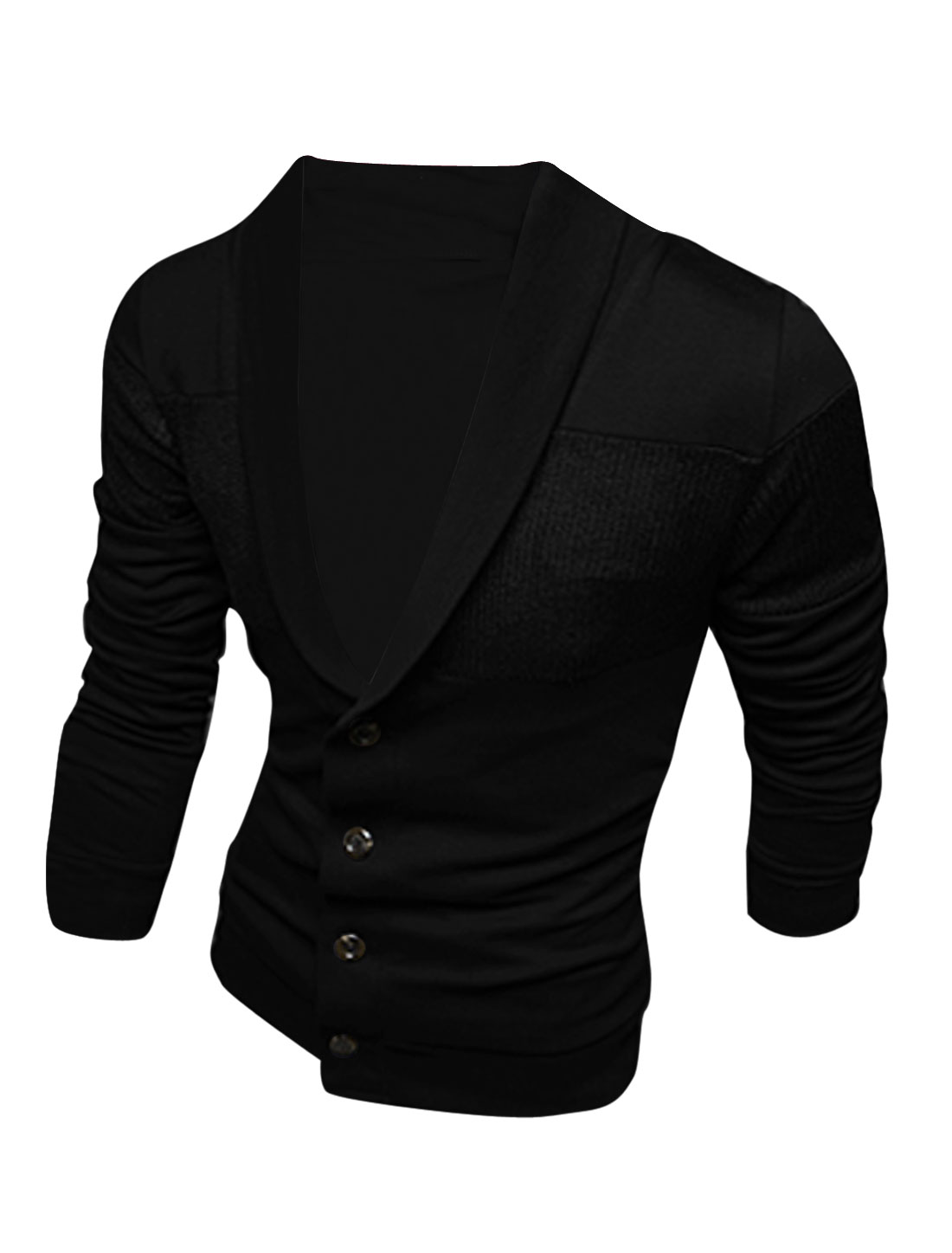 Men Shawl Collar Single Four Buttons Knitted Panel Cardigan Black M