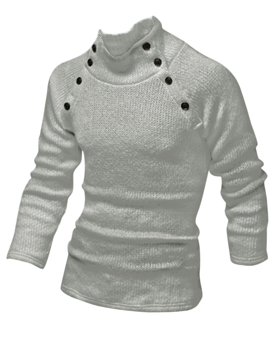 Men Mock Neck Long Sleeve Buttons Decor Cozy Fit Sweater Light Gray M