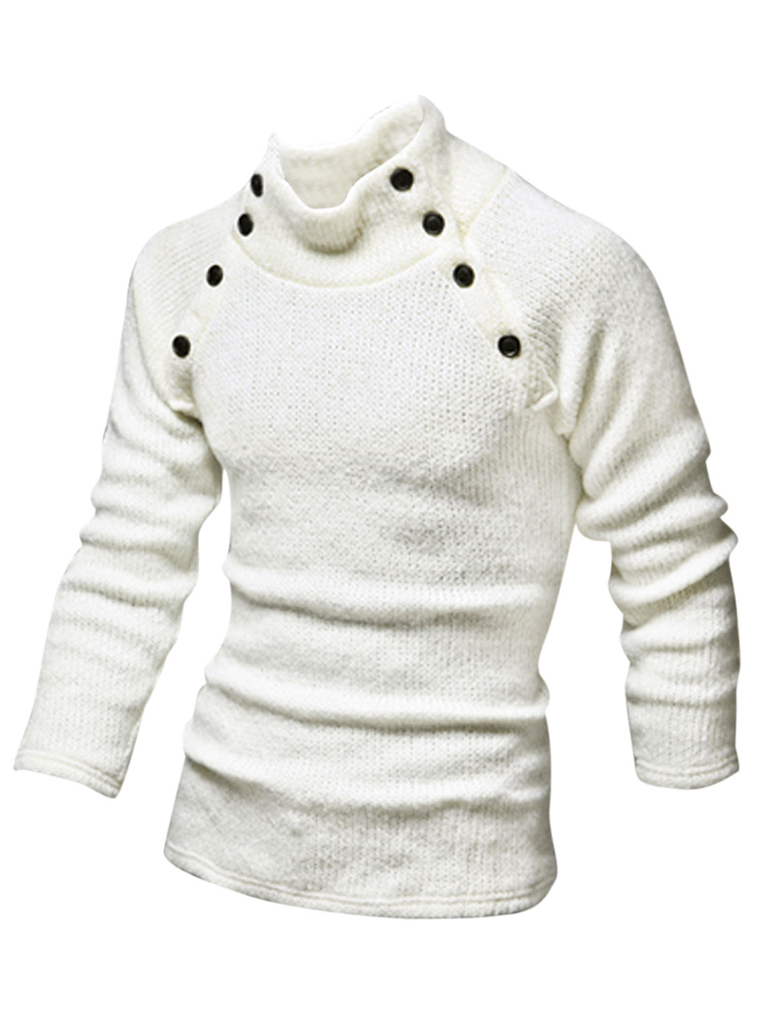 Men Pullover Mock Neck Buttons Decor Casual Sweater White M