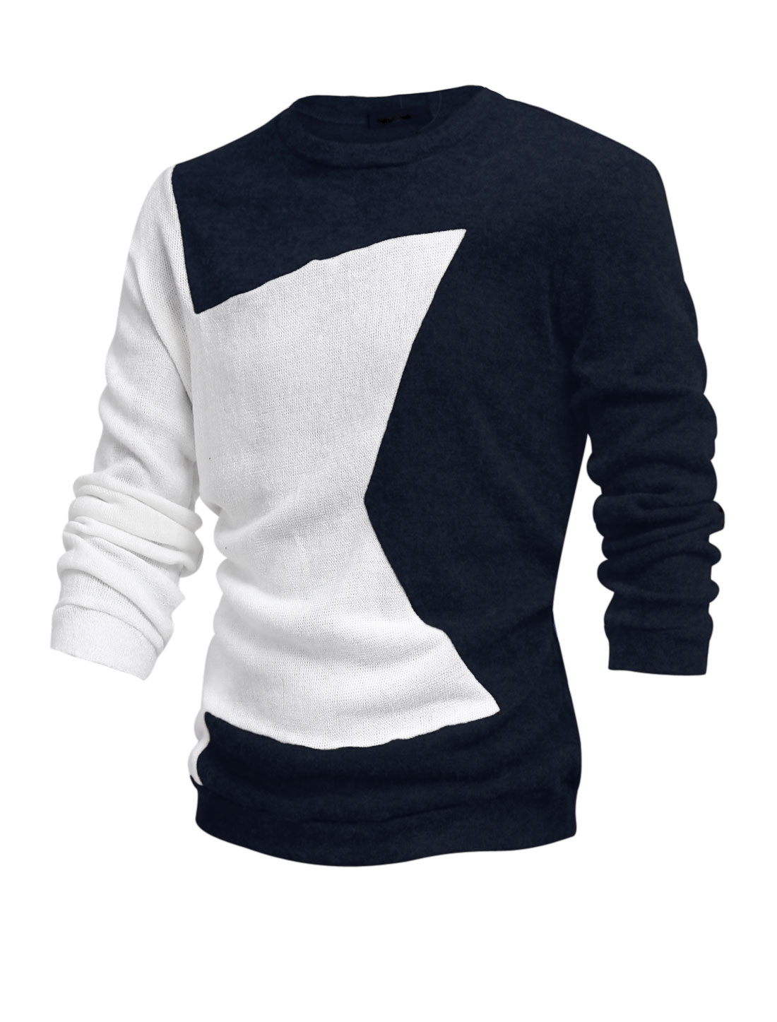 Men Round Neck Stars Pattern Contrast Color Casual Sweater Navy Blue L