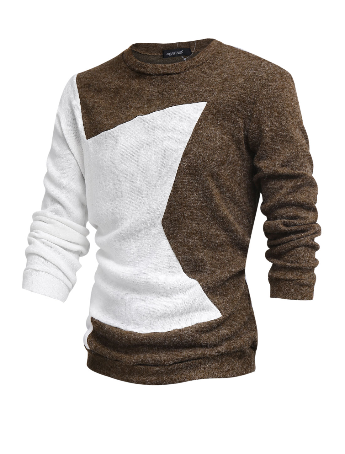 Men Round Neck Contrast Color Casual Sweater Brown L