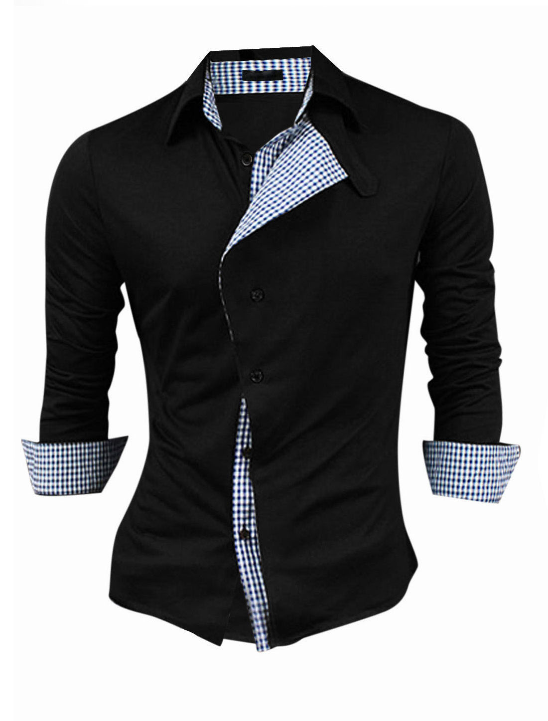 Men Button-Tab Point Collar Single Breasted Panel Casual Shirt Black M