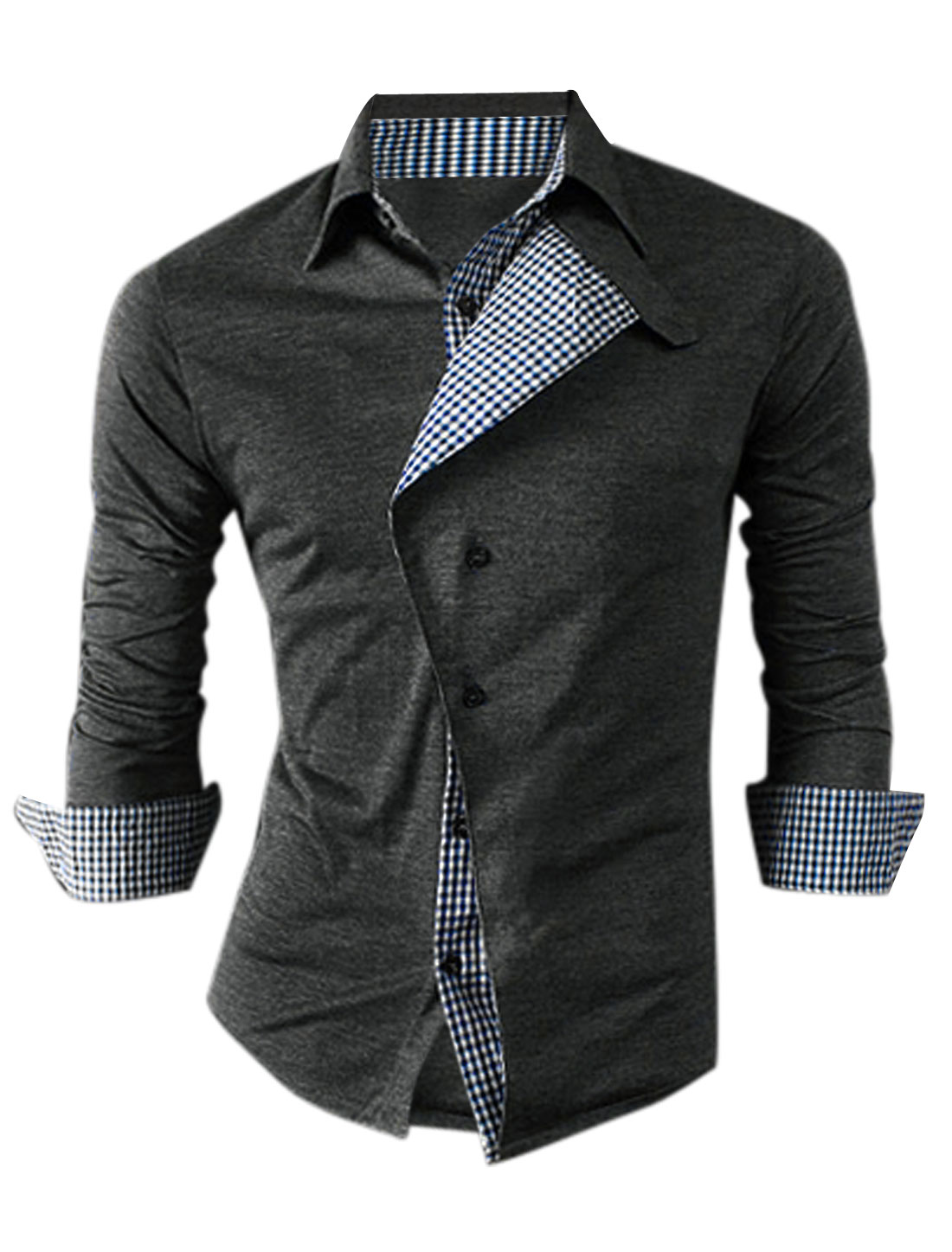 Men Roll Up Sleeve Panel Plaids Detail Single Breasted Shirt Dark Gray M