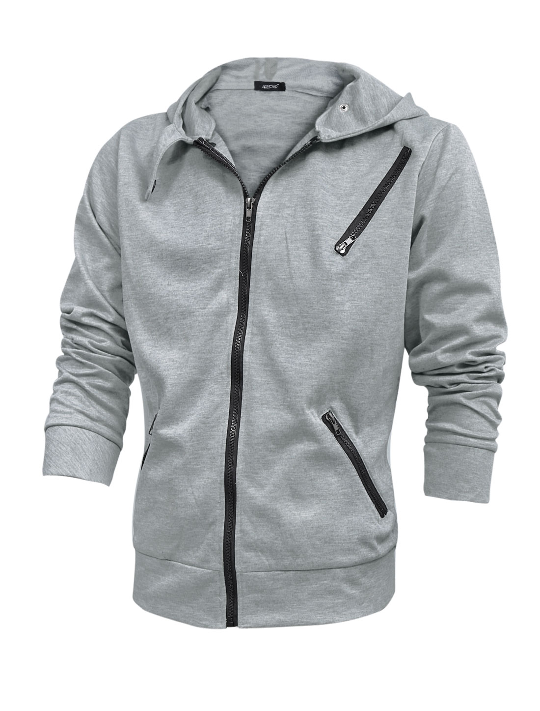 Men Long Sleeve Zipper Closed Pockets Zip Fly Hoodie Light Gray M