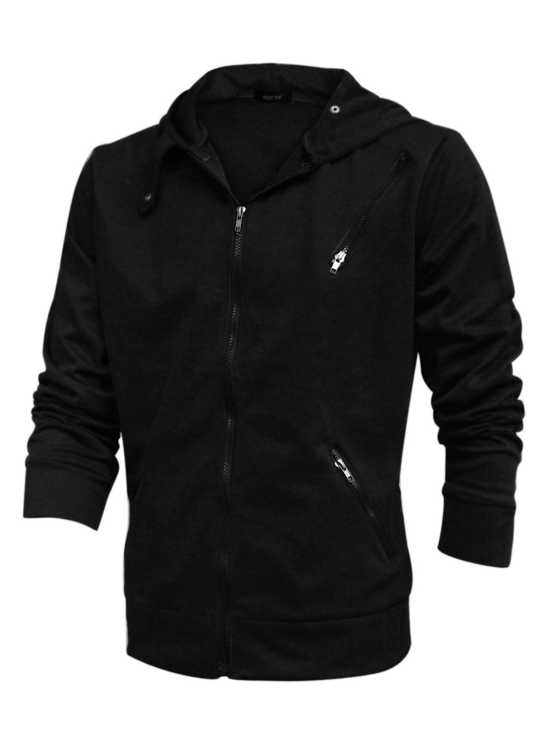 Men Long Sleeve Zipper Closed Pockets Zip Up Hoodie Black M