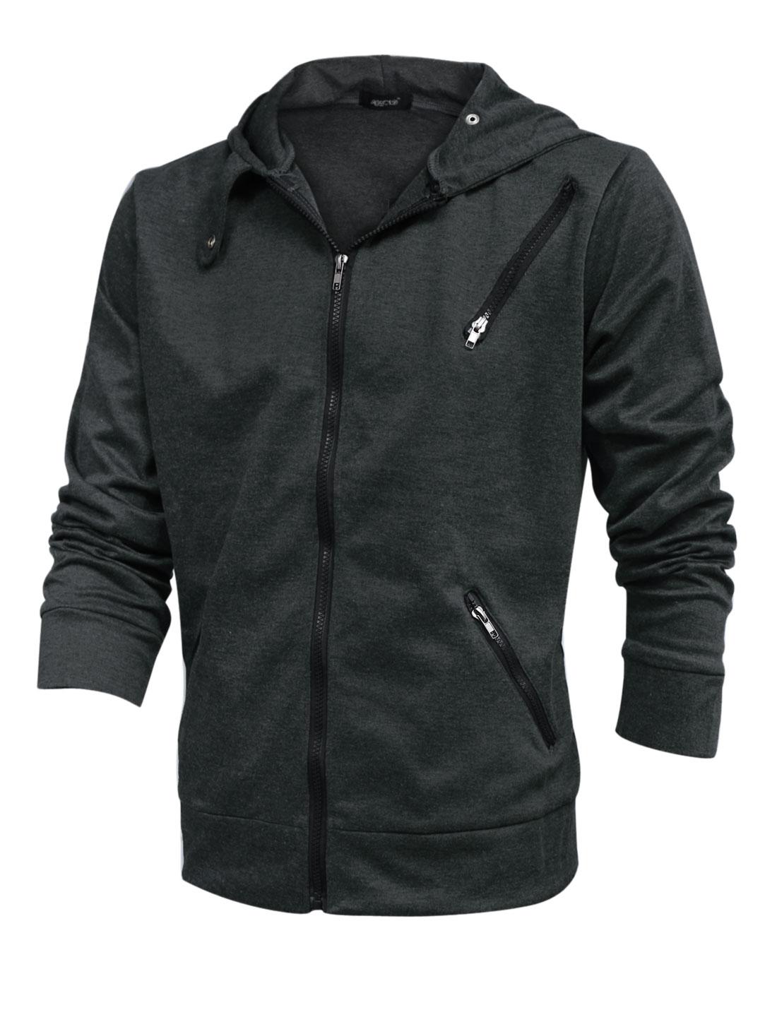 Men Leisure Long Sleeve Zipper Closed Pockets Zip Fly Hoodie Dark Gray M