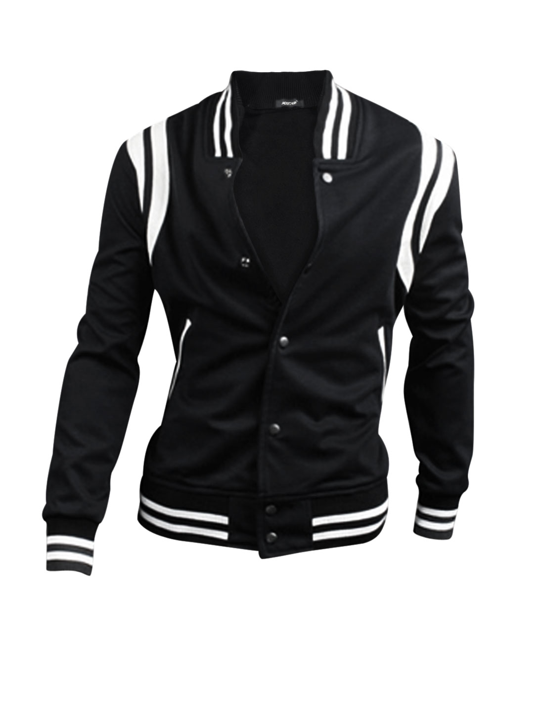 Men Ribbed Collar Single Breasted Contrast Color Elastic Waist Ball Jacket Black M
