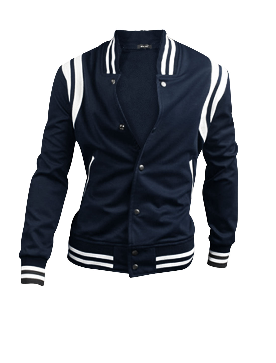 Men Color Block Stretchy Waist Single Breasted Ball Jacket Navy Blue M