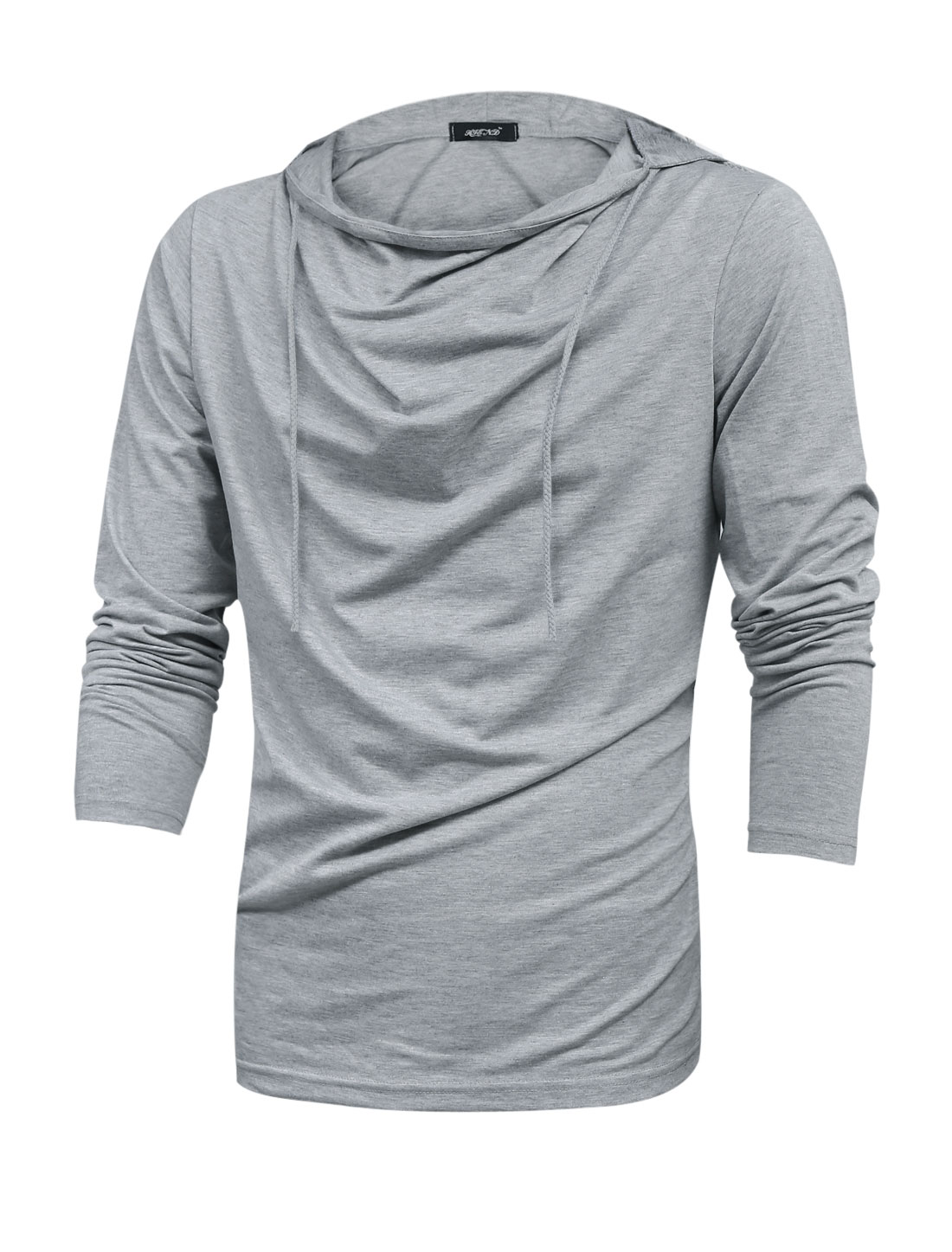 Men Cowl Neck Drawstring Hooded Casual Sweatshirt Light Gray M