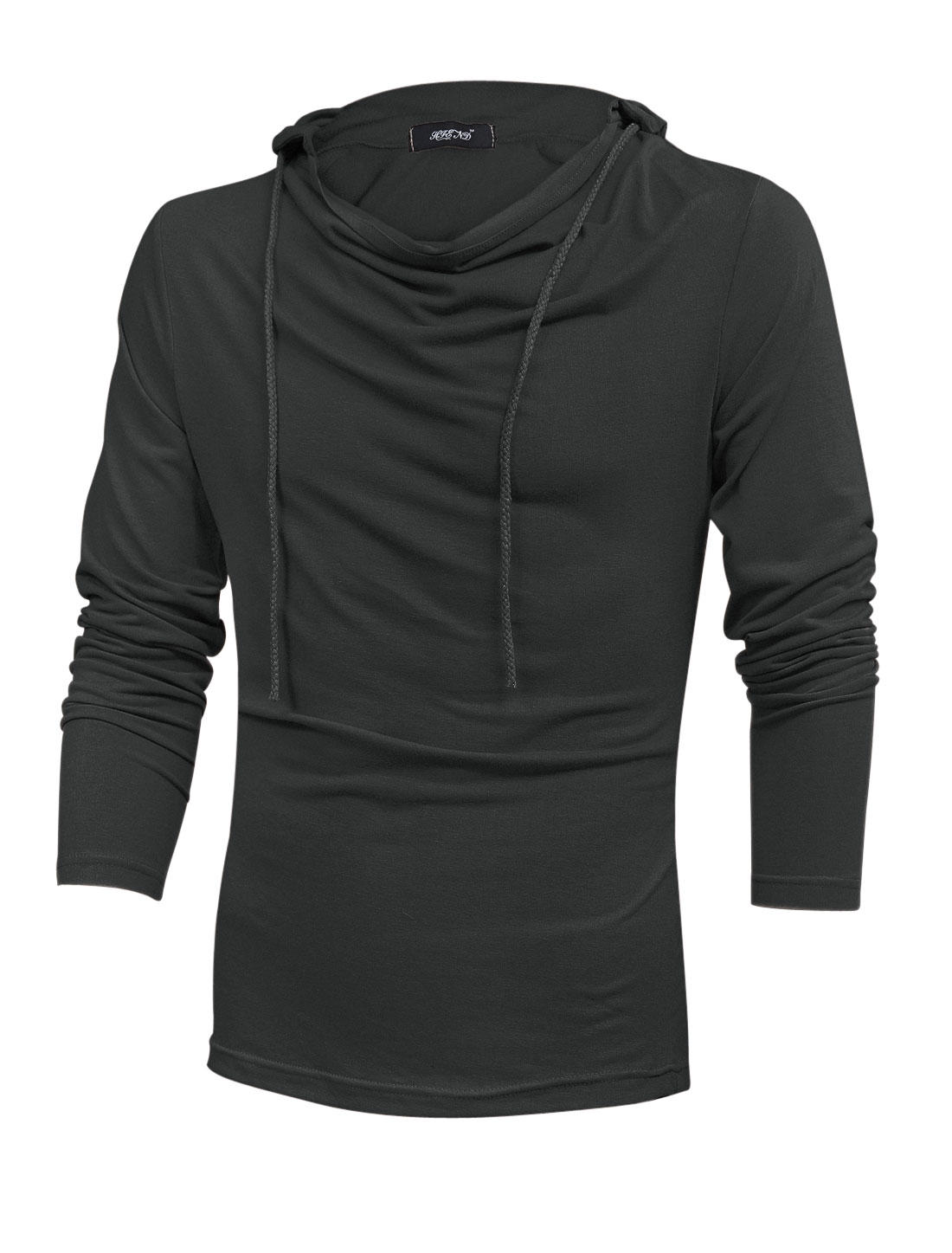 Men Long Sleeve Cowl Neck Casual Hooded Sweatshirt Dark Gray M