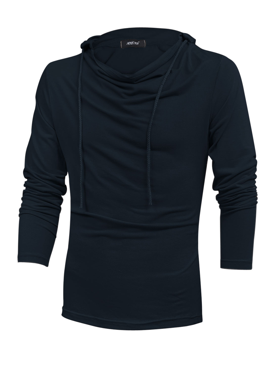 Men Cowl Neck Pullover Cozy Fit Hooded Sweatshirt Navy Blue M