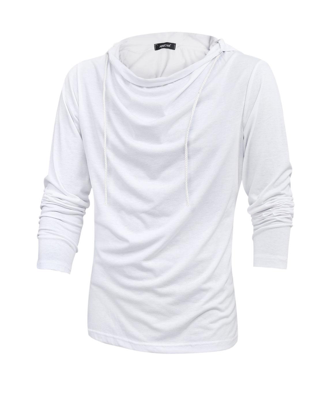 Man Drawstring Hooded Cozy Fit Sweatshirt White M