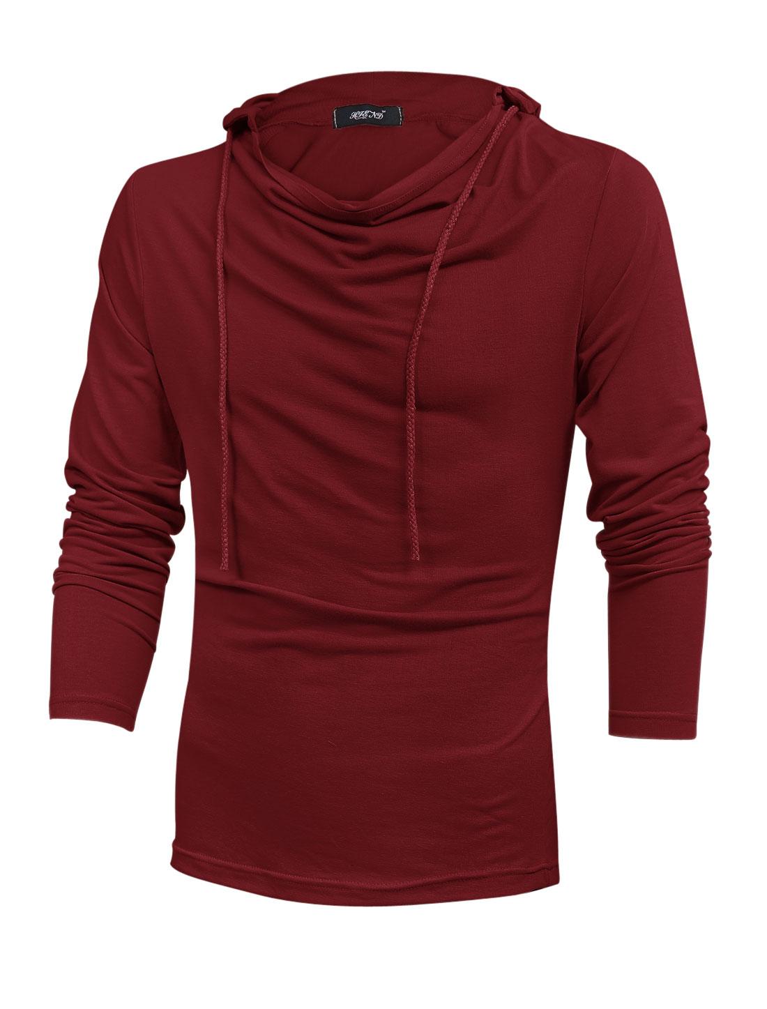 Drawstring Hooded Fashionable Sweatshirt for Men Burgundy M