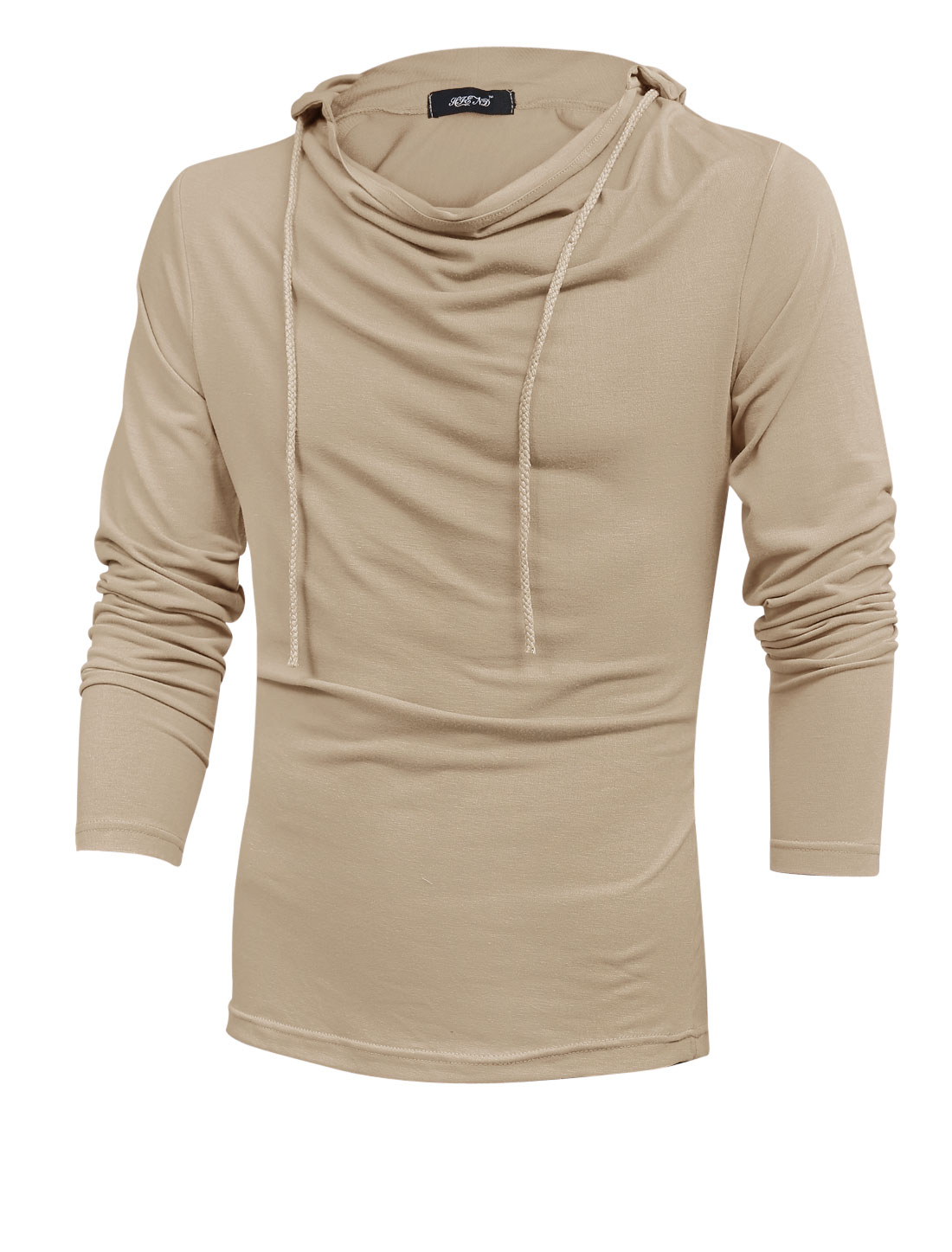 Men Slipover Drawstring Hooded Fashionable Sweatshirt Camel M