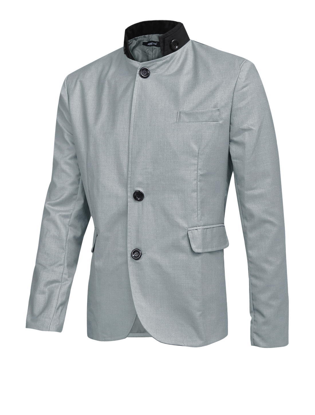 Men Contrast Color Convertible Collar Single Breasted Vertical Pockets Blazer Light Gray L