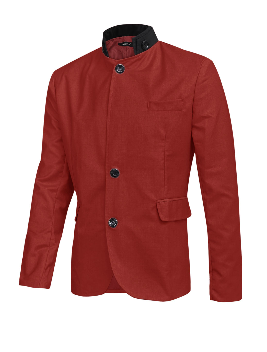 Men Button Closure Front Chest w Vertical Pockets Casual Blazer Red L