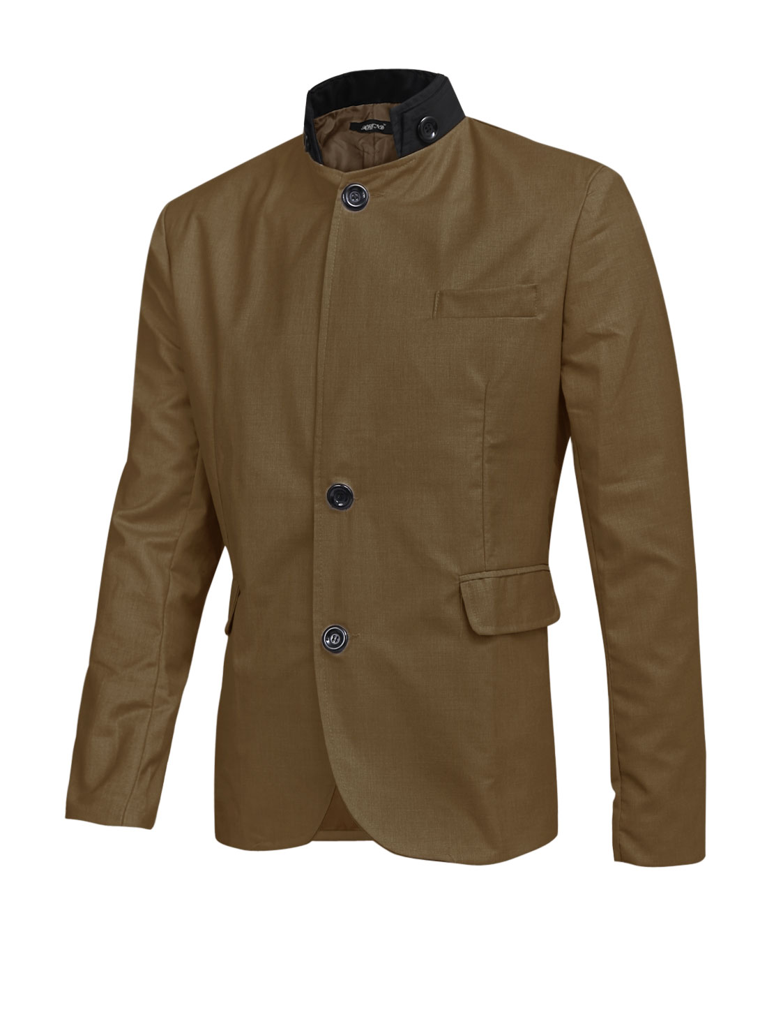 Men Color Block Convertible Collar Single Breasted Slim Blazer Coffee L