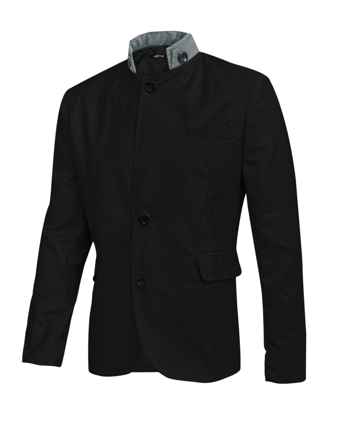 Men Button Closure Front Multi Pockets Leisure Slim Blazer Black L