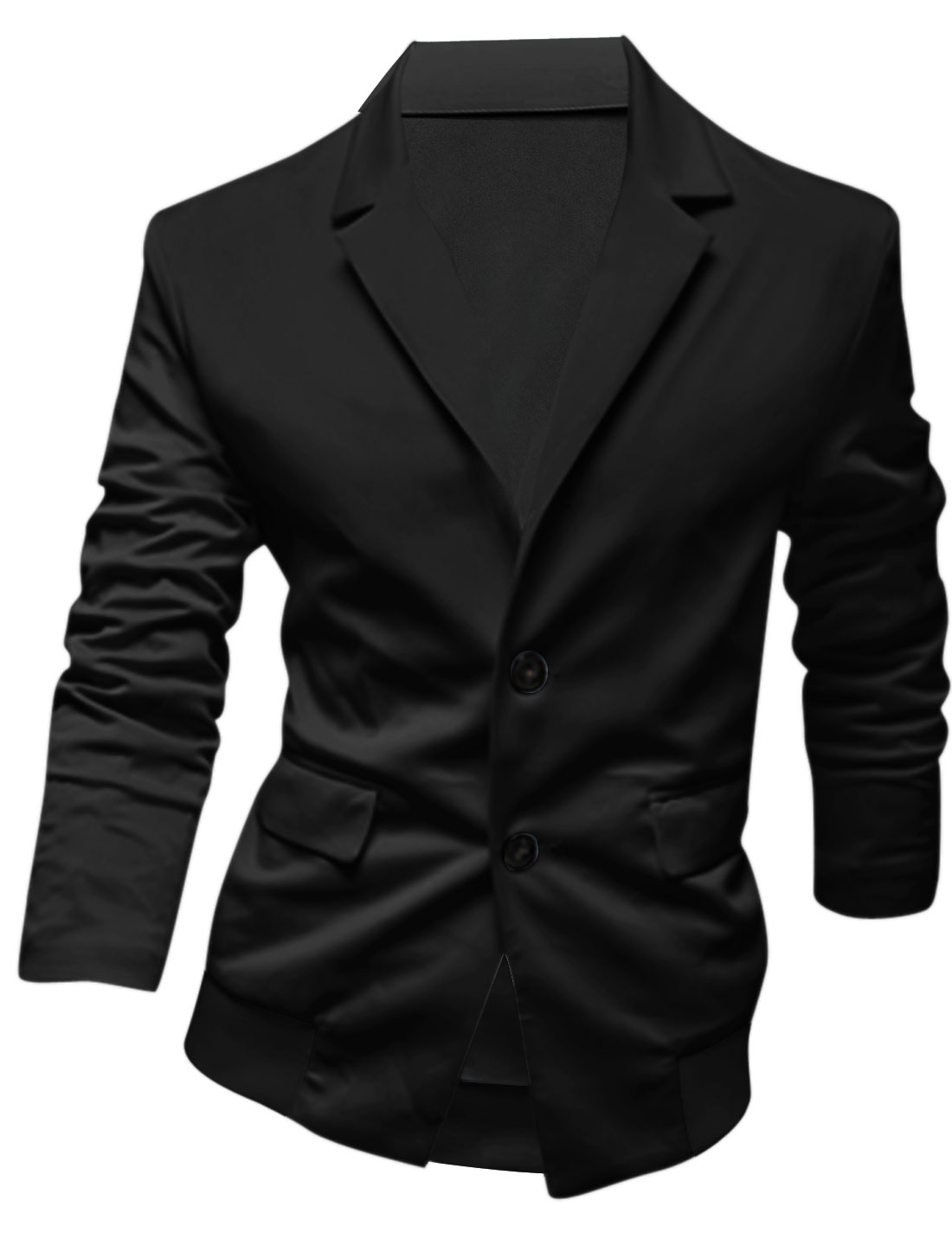 Men Notched Lapel Single Breasted Double Flap Pockets Jacket Black M