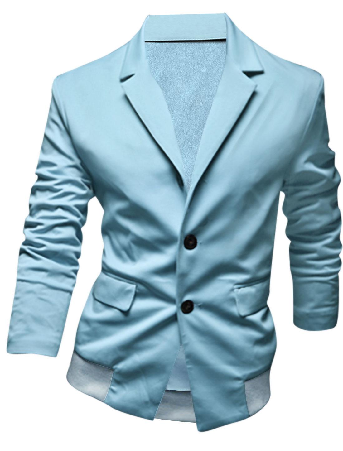 Men Notched Lapel Button Down Double Flap Pockets Jacket Light Blue M