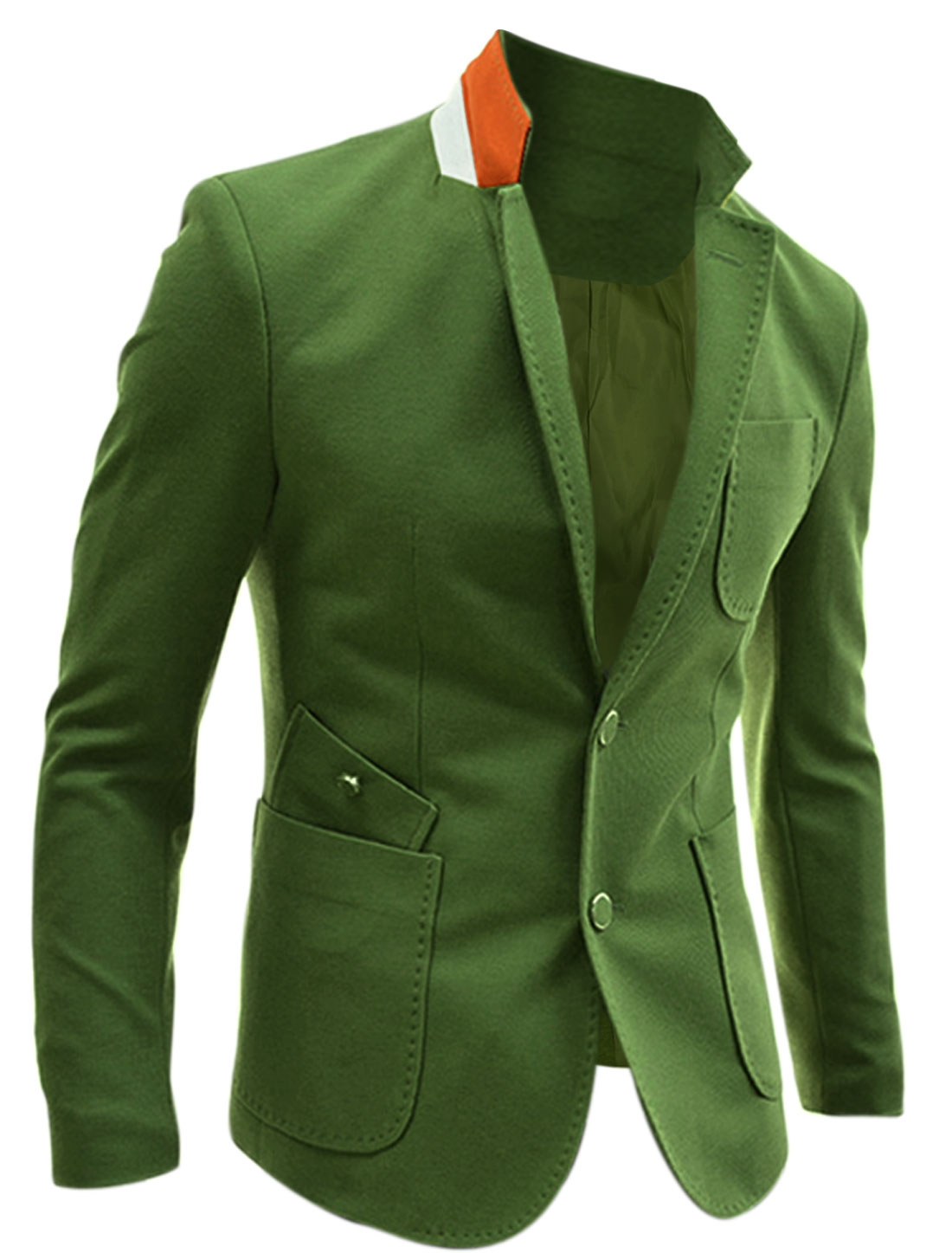 Men Notch Lapel Single Breasted Multi Pockets Split Back Blazer Army Green M
