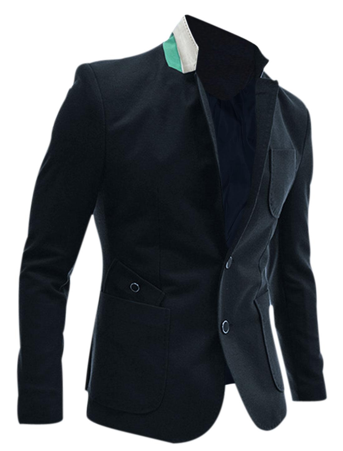 Men Contrast Lapel Button Closure Front Slim Blazer Navy Blue M
