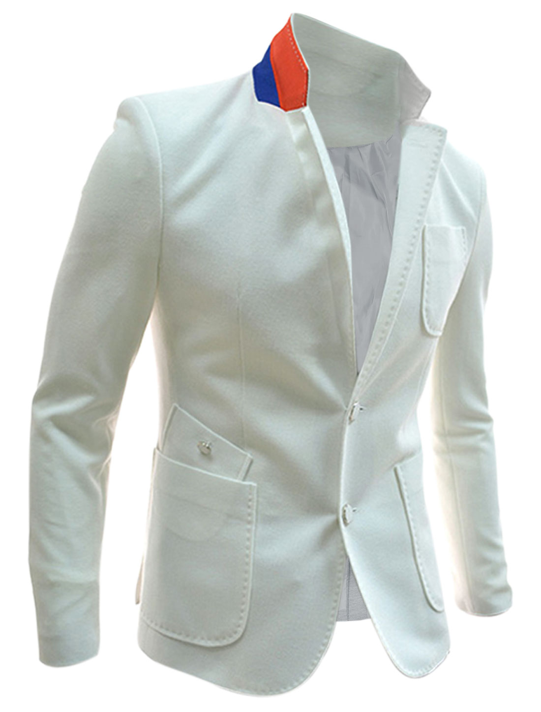 Men Padded Shoulder Buttoned Front Vent Back Blazer White M