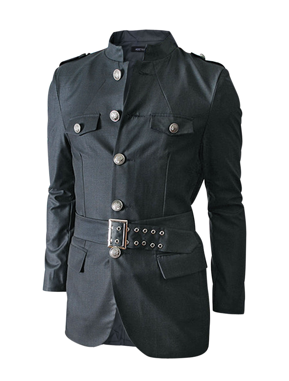 Men Single Breasted w Vertical Pockets Front Split Back Military Jacket Dark Gray M