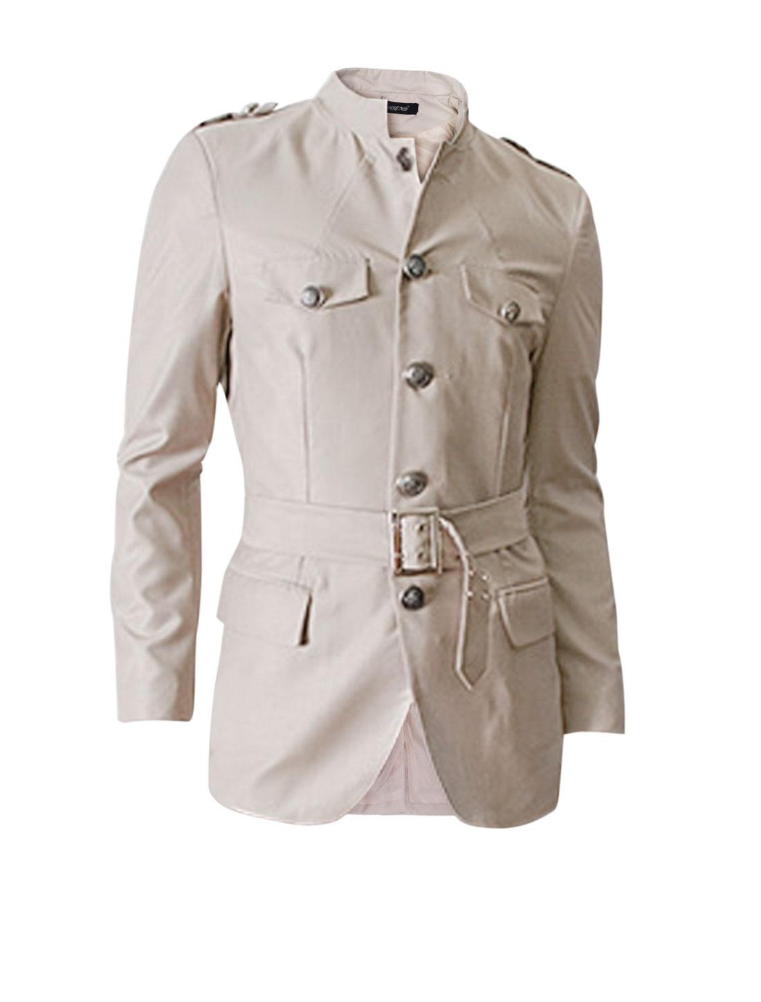 Men Button Closure Front Selt Tie Waist Belt Military Jacket Beige M