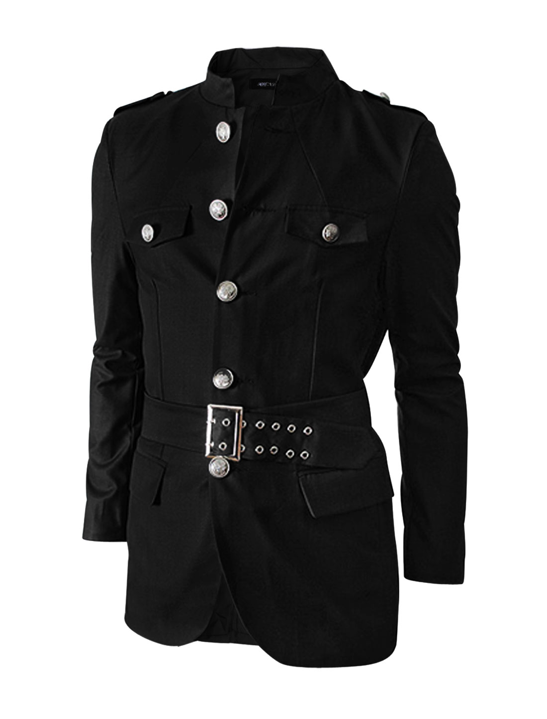 Men Stand Collar Self Tie Waist Belt Slim Military Jacket Black M