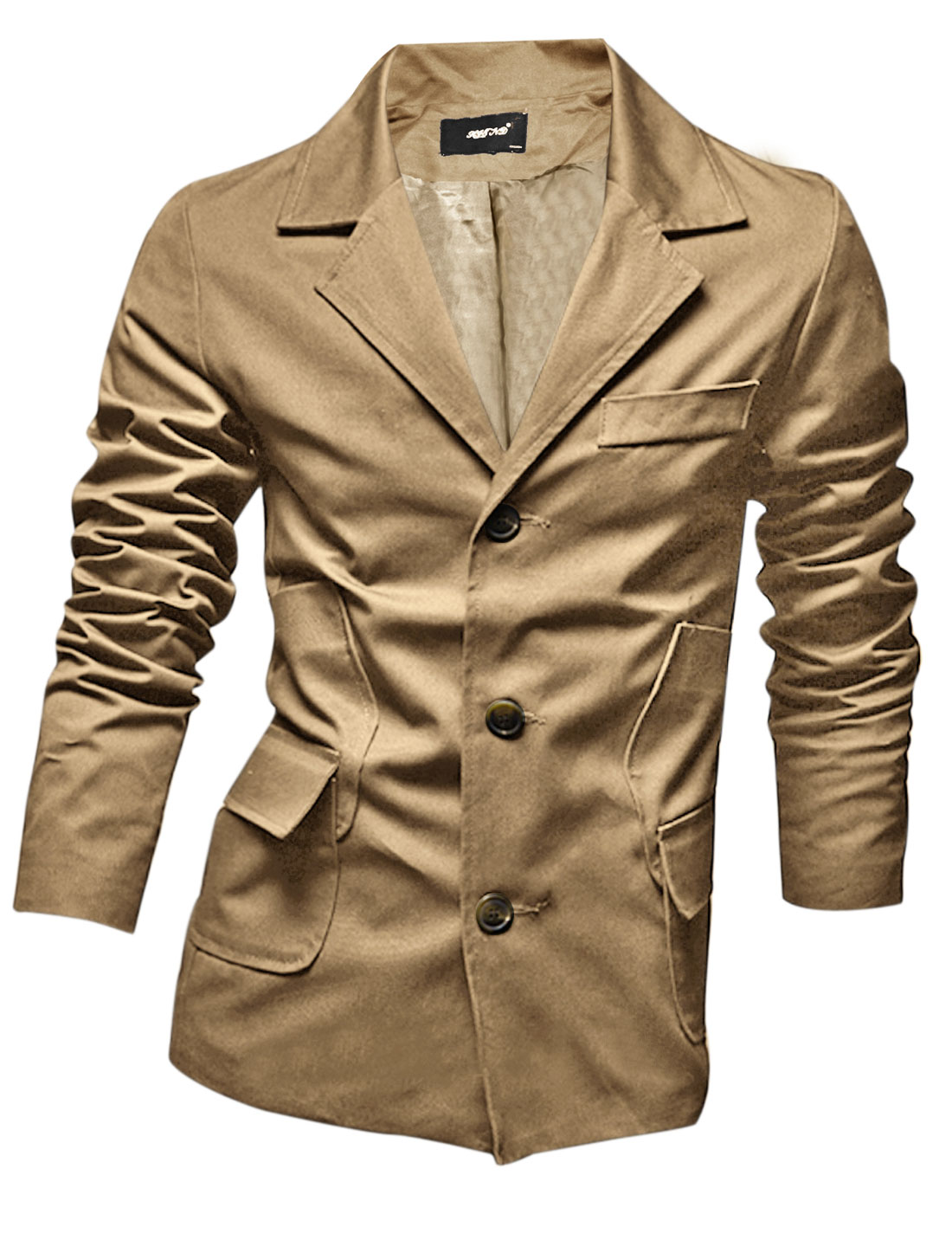 Men Notched Lapel Single Three Buttons Casual Blazer Jacket Khaki M