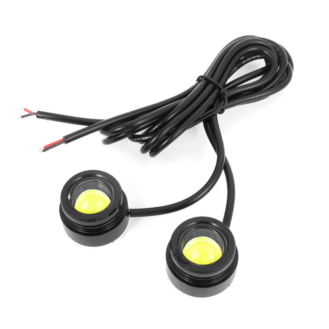 2 Pcs White LED Car Daytime Running Reversing Lights Tail Lamps 25MM Dia 12V 3W