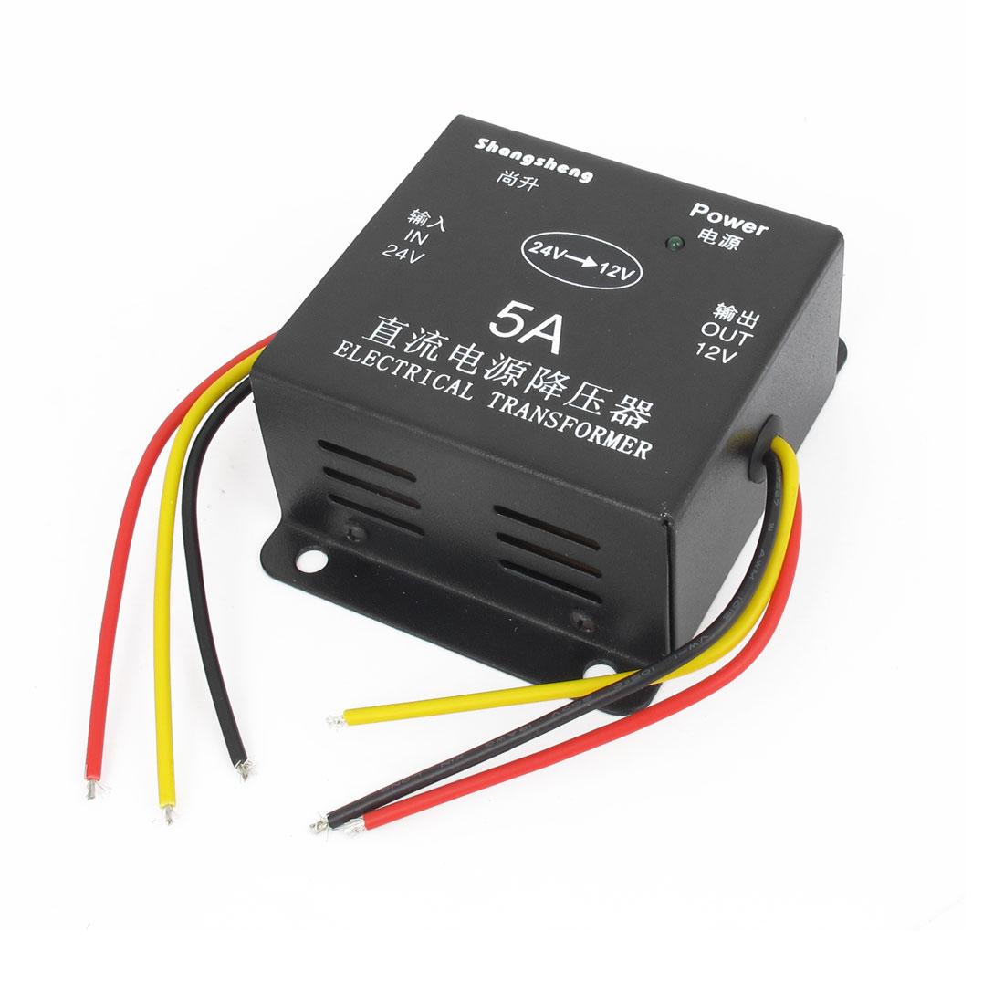Black Metal Shell DC 24V to 12V Voltage 5A Reducer Converter Transformer for Car