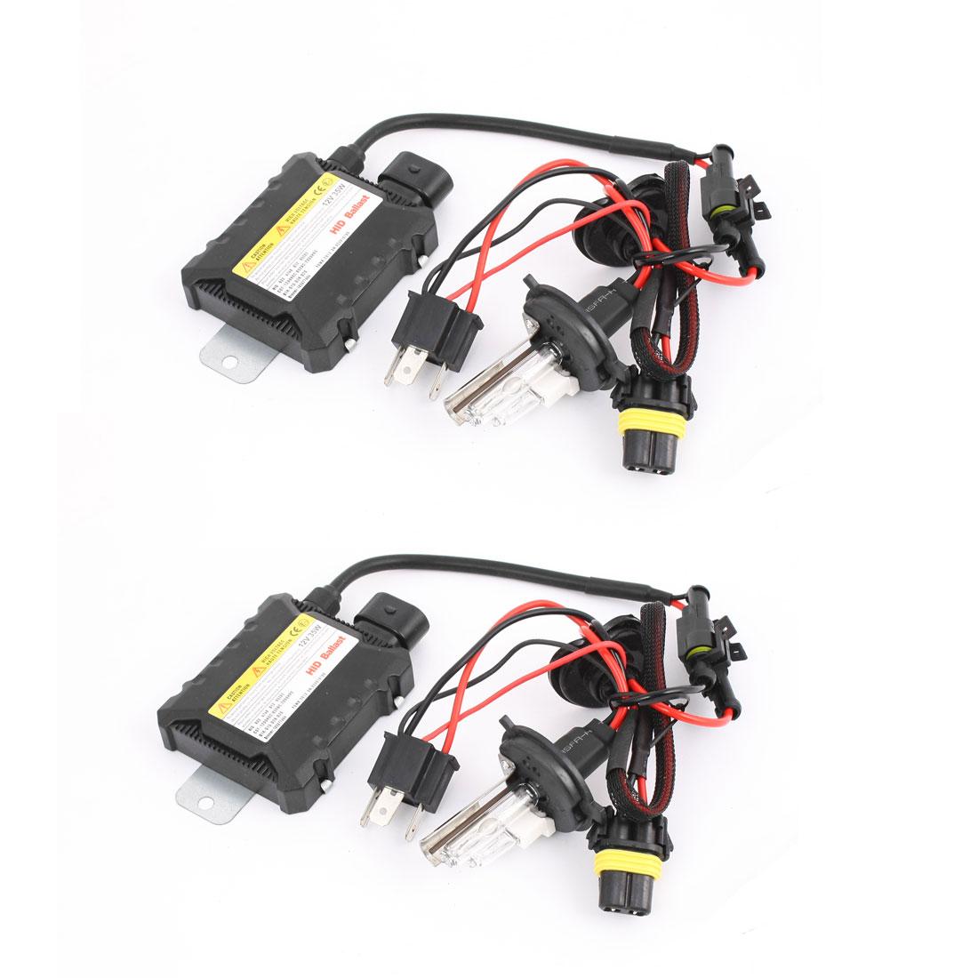 2 Pcs 12V 35W HID Conversion Kit H4 4300K Xenon Light w Slim Ballasts