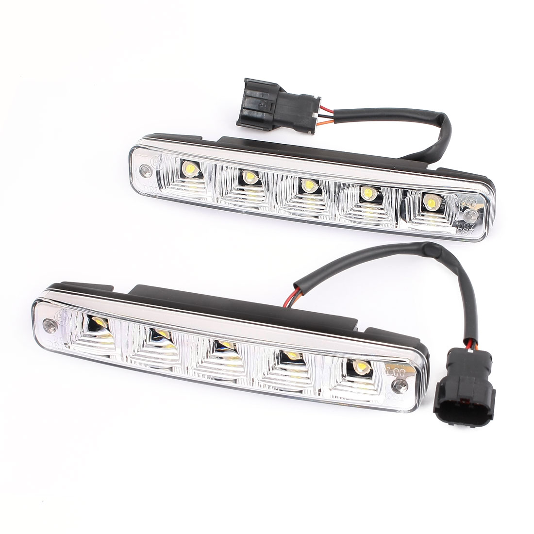 2 Pcs Car White 5-LED DRL Daytime Running Light Headlamp Driving Lamp 12V