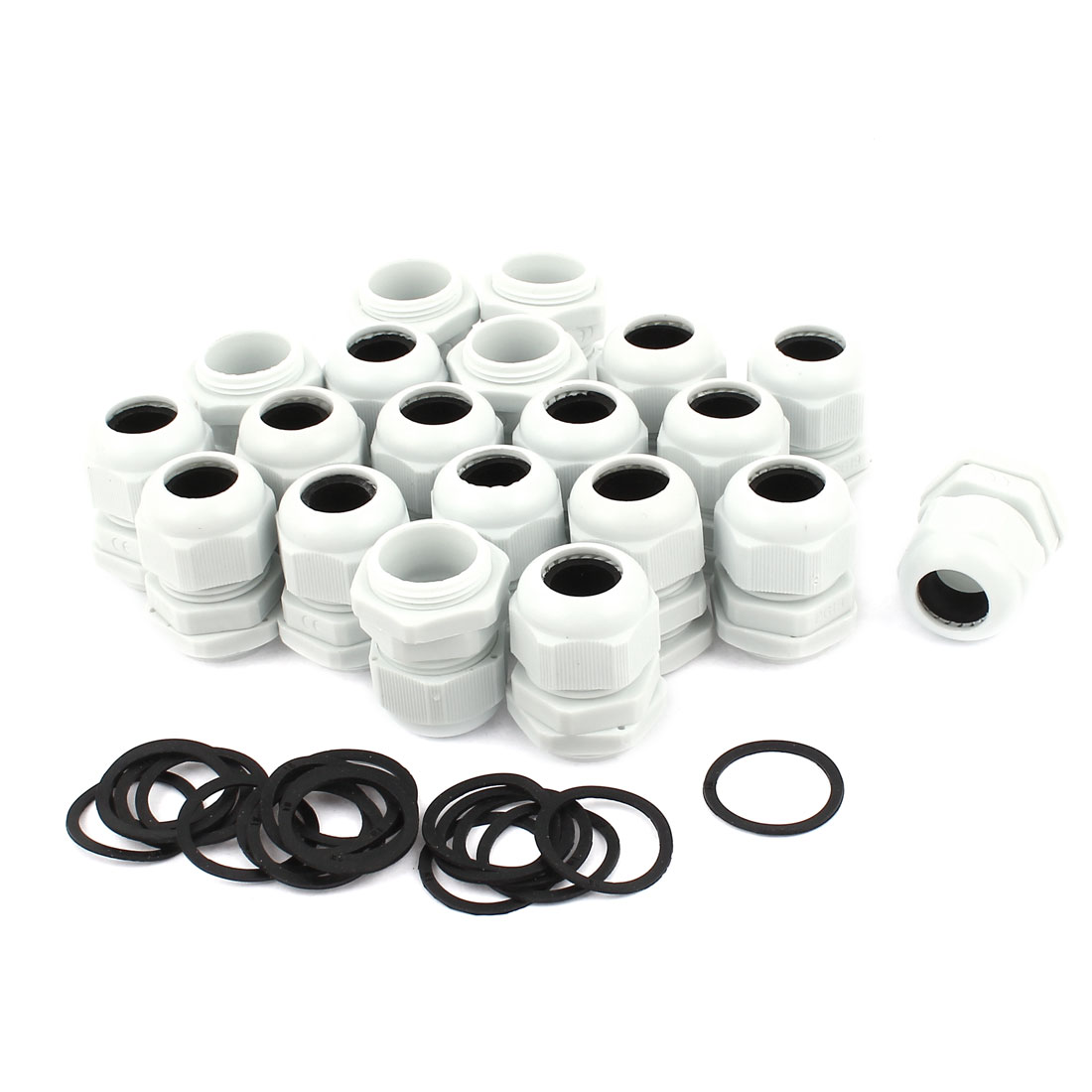 20 Pcs PG19 White Plastic 12-15mm Dia Waterproof Cable Glands Connectors